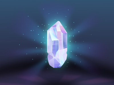 Glowing Crystal opalescent stone game art game light particles glow quartz gem crystal vector illustration