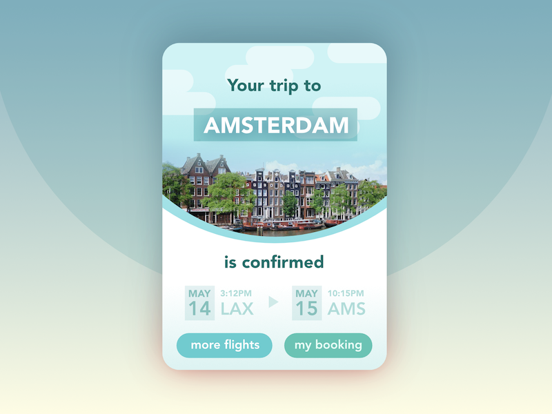 Trip Confirmation scheduling visit vacation plane reservation ticket amsterdam trip booking confirmation flight ui