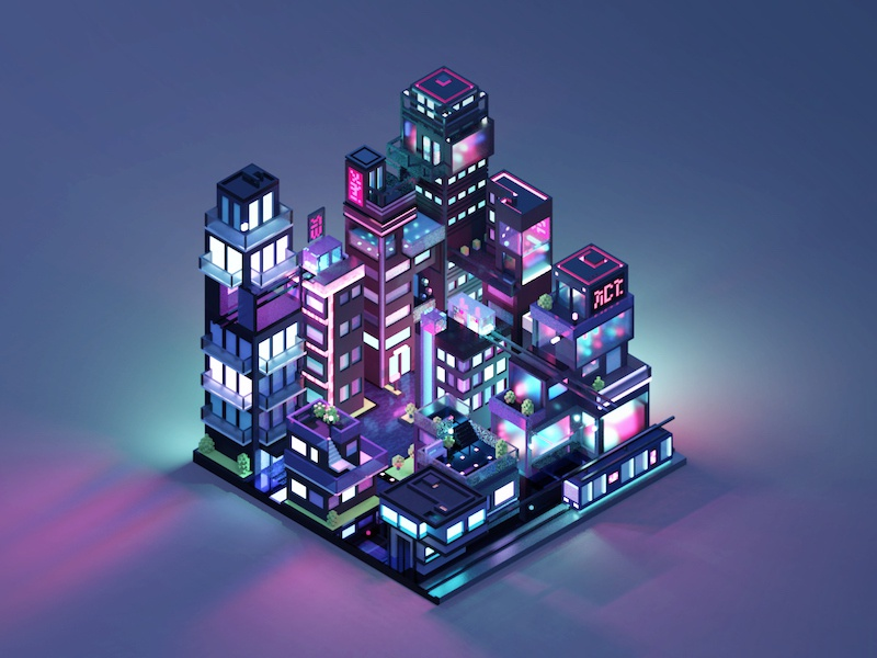Neon City retro futuristic transportation train pixel isometric urban lights neon voxel 3d city
