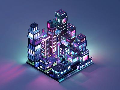 Neon City retro futuristic transportation train pixel isometric urban lights neon voxel 3d city