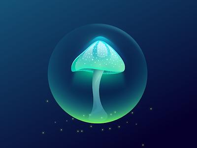 Toxic Mushroom glowing green radioactive neon mushroom inktober illustration vector game item game art game