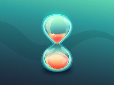 Hourglass Icon timer hourglass wait 80s neon glass shine gloss loading illustration icon