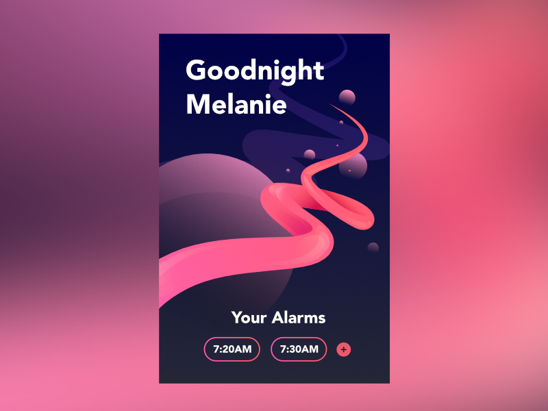 Alarm Screen Concept interface neon contrast glassy abstract clock screen ui alarm