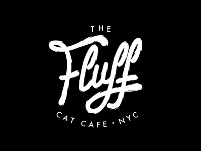 The Fluff • Logo branding identity calligraphy monoweight minimal cafe lettering fluffy logo
