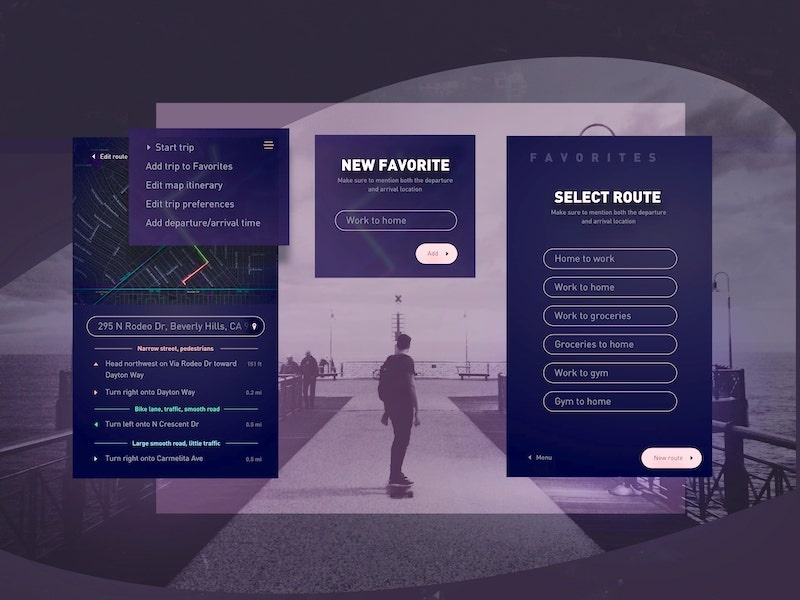 Ride Mapper | Itinerary favorites transportation itinerary ui screen interface route favorite directions electric maps