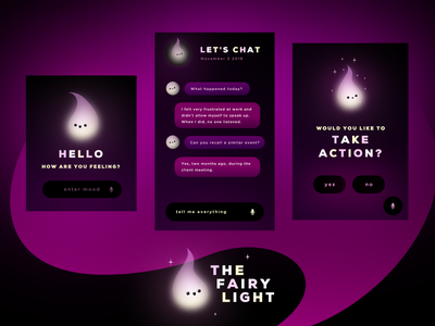 Fairy Light   Self-Help Concept App flow uiux dark light interaction data intelligence self care interface ui chatbot chat