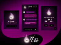 Fairy Light | Self-Help Concept App flow uiux dark light interaction data intelligence self care interface ui chatbot chat