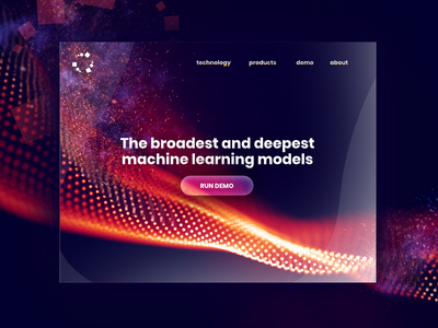 Machine Learning Discovery Home Page home uiux service page mobile minimal machine learning landing interface data contrast ai