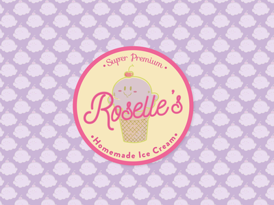 Roselle's Homemade Ice Cream logo design digital packaging design design vector ice cream cone packaging brand identity branding typogaphy cute illustration cute logo ice cream logo ice cream shop ice cream