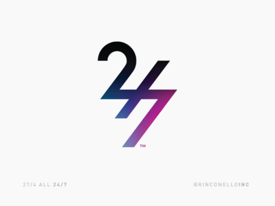 27/4 ALL 24/7 rinconelloinc instagram dribbble logos logodesigner light vivid gradient allday icon graphic designer design love 247 274 logo brand branding
