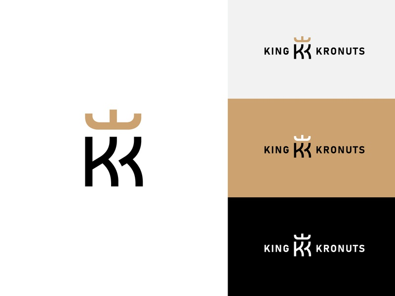 King Kronuts / Concept Logo gold kingdom double k design letter k minimalist simple logo design minimalist logo minimal branding logo donuts king gray black sand crown kk