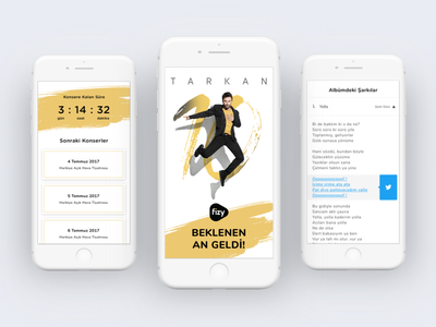 Tarkan Landing Page - fizy landing page fizy website music ui ux mobile tarkan ios calender twitter sahre