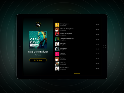 Music Landing Page Design tablet playlist landing page player music web mobile layout ipad ux ui fizy