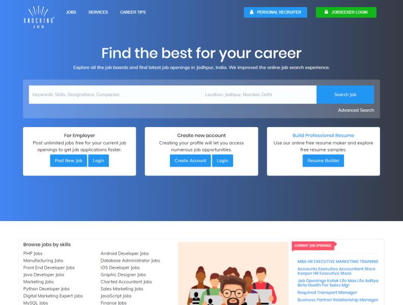 Knocking Job Online Job Search Free Resume Maker By Vikram Soni