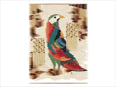 For the Birds:  Day 06 illustration tapestry bird