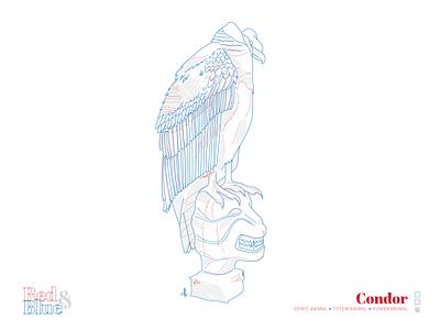 Condor line meaning symbolism blue red creative illustration design bird illustration