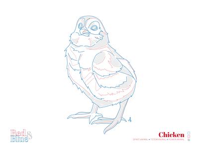 Chicken line meaning symbolism blue red creative illustration design bird illustration