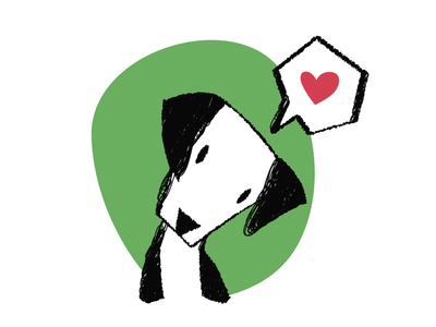 Love heart love dog