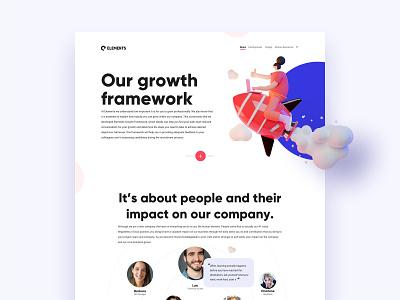 Landingpage Growth framework webflow clean sketch landingpage web minimal website design ux ui