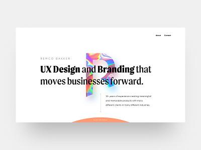 Portfolio Remco Bakker branding concept clean landingpage web minimal website design ux ui