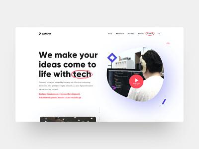 Elements landingpage concept flat clean landingpage web minimal website design ux ui