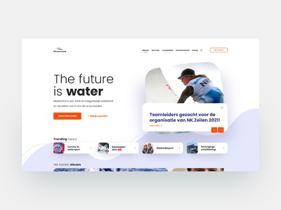 Waterspondverbond landing page landingpage sport organisation watersport web website design ux ui