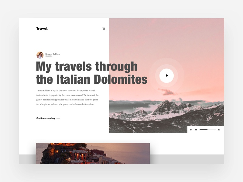 Travel Stories Landingpage web design website web uidesign minimal landingpage flat design clean ux ui