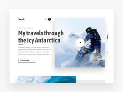 Travel Stories Antarctica web design website web ux uidesign ui minimal landingpage flat design clean travel