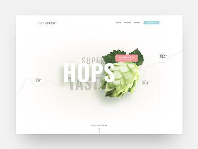 Easygrow landingpage ux ui design website web minimal sketch landingpage grid