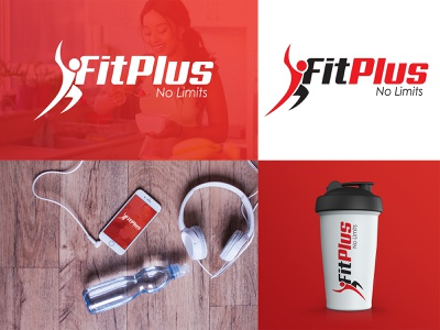 FIT PLUS (LOGO DESIGN) illustration typography workout plus fitness branding logo design