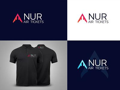 NUR AIR TICKETS (LOGO DESIGN) sky airplane airlogo plane airticket nur graphic design vector logo branding