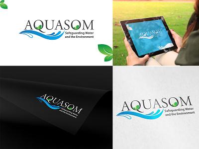 AQUASOM (LOGO DESIGN) water safeguarding nature graphic design vector design branding logo environment