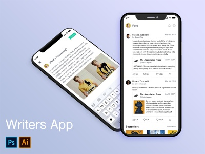 mockup ux design author mobile mobile app app design idea app writer app idea writer app design writer app writer