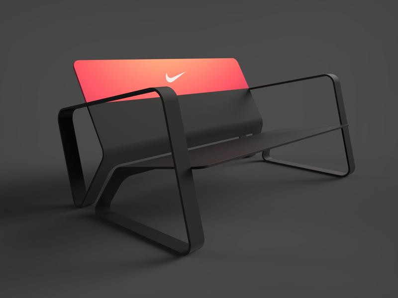 Nike Bench Pink design keyshot sheet metal furniture interior design sporty render product design industrial design chair bench nike
