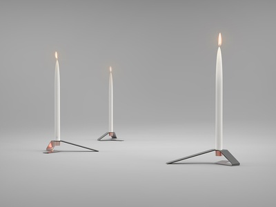 Modipow candle holders sheet metal candle holders modipow industrial design product presentation product design render candles