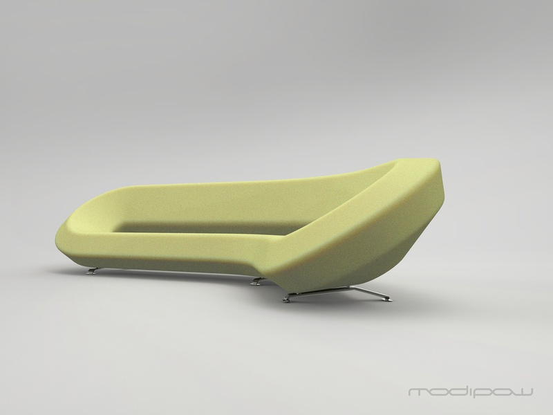 Modipow lab chouch in colour: grellow furniture design sofa couch concept design modipow keyshot furniture industrial design product presentation render rendering product design