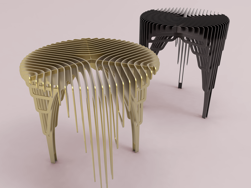 Side table 'waterfall' (in brass & black) industrial design product presentation rendering waterfall brass interior product product design table side table
