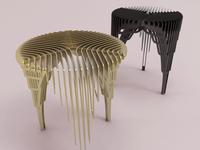 Side table 'waterfall' (in brass & black)