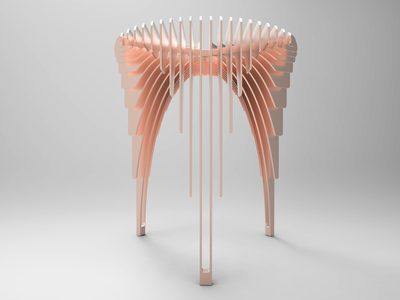 Rose 'waterfall' stool keyshot furniture design copper table design modipow modular render concept design chair furniture industrial design product presentation rendering product design