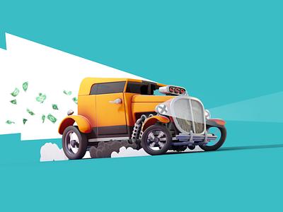 Bank Robber`s Hot Rod car illustration car blender 3d stylized robber smoke stylized smoke 3d cartoon 3d car 3d art hotrod