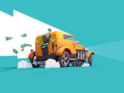 Bank Robber's Hot Rod 3d art 3d render car 3d substance painter illustration design car blender 3d