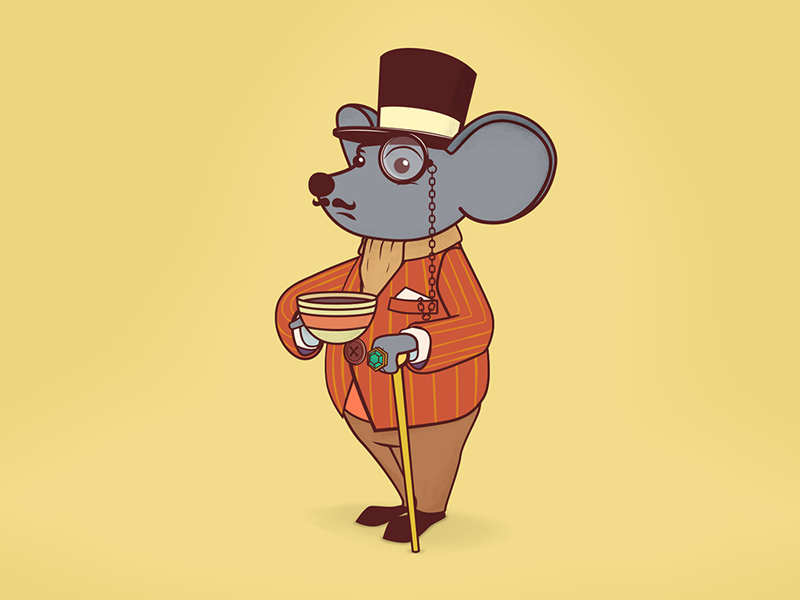 Mr.Mouse character illustration majestic classic style vintage vector mr.mouse mister tea sir mouse