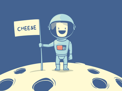 Planet Cheese space food cheese character vector astronout astro