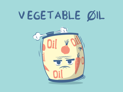 Vegetable Oil food character vector barrel blow angry oil
