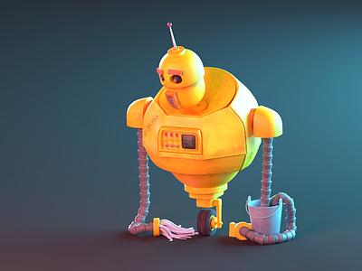 Abandoned Robot character rust 3d blender bucket cleaning robot