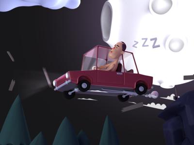 Moonstruck Carl crush jump night sleep moonstruck moon blender 3d car