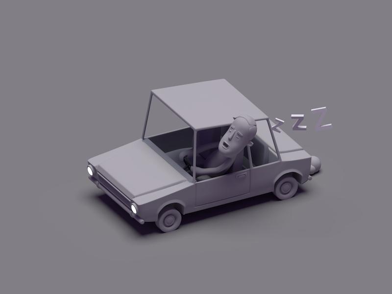 Moonstruck Carl in monotone toon sleep car 3d blender