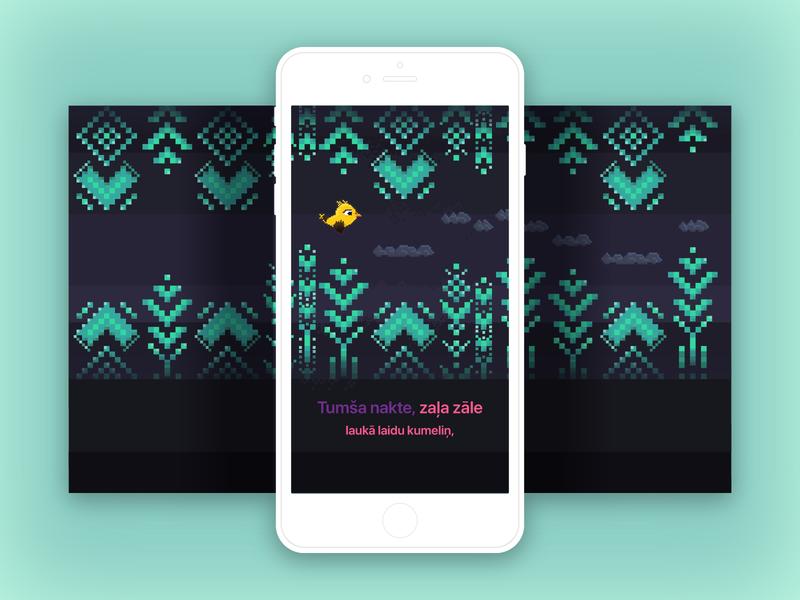 "Singing game ""Dziedot"" night illustrator vector bird levels game design app design"