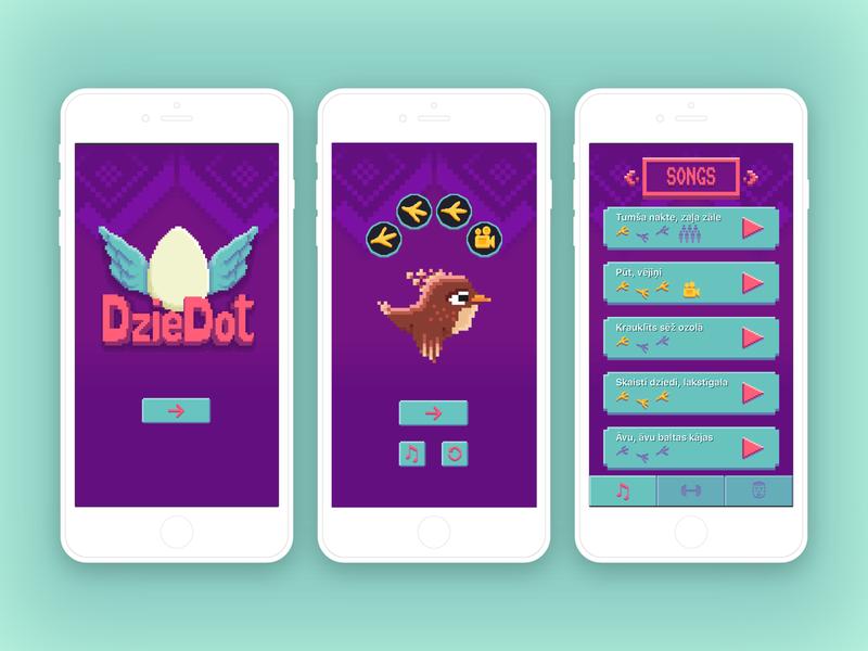 """Singing game """"DzieDot"""" pixelart logo bird menu game design app"""