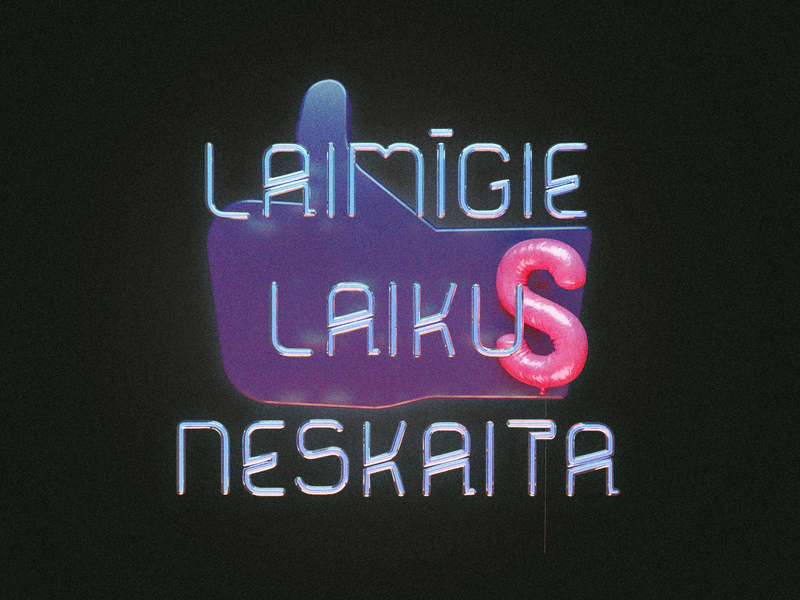 Neon Hypocrite lettering type neon thumb up like baloon 3d typography typography 3d blender